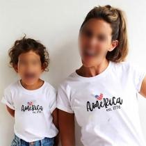 Casual Ouder-Kind T-shirt met Korte Mouwen Ronde Hals en Tekstprint
