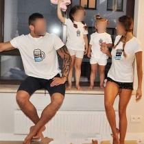 Leuk T-shirt voor Ouders en Kinderen met Cartoonmotief Korte Mouwen en Ronde Halslijn