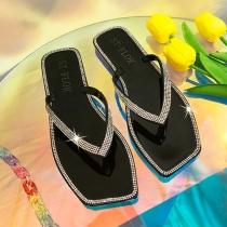 Moderne Slippers met Vierkante Neuzen Strass en Transparante Zolen