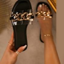 Moderne Slippers met Platte Zolen Open Tenen en Kettingschakels