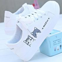 Casual Witte Schoenen met Platte Hakken Ronde Neuzen Veters en Kattenmotief