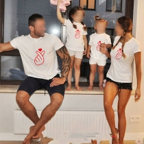 Casual Ouder-Kind T-shirt met Korte Mouwen Ronde Hals en Gebaarmotief