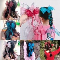 Leuke Haarband van Tule voor Kinderen met Strikje en Fishtail Design 3 Stuks / Set