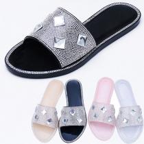 Moderne Slippers met Strass Platte Zolen en Open Tenen
