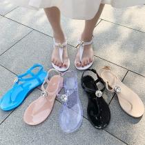 Eenvoudige Sandalen met Platte Hakken en Strass
