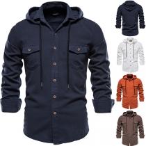 Casual Overhemd voor Heren met Lange Mouwen Effen Kleur en Capuchon
