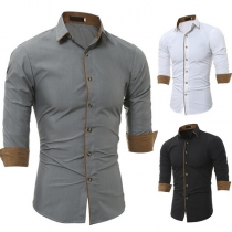 Modern Overhemd voor Heren met Lange Mouwen Polokraag Single-Breasted Design en Contrasterende Kleuren