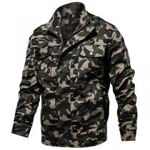 Moderne Jas voor Heren met Camouflagepatroon Lange Mouwen en Opstaande Kraag