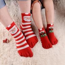 Schattige Teensokken met Kerstpatroon in Contrasterende Kleuren 5 Paar / Set
