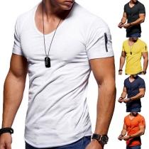 Eenvoudig T-shirt voor Heren met Korte Mouwen V-hals en Effen Kleur