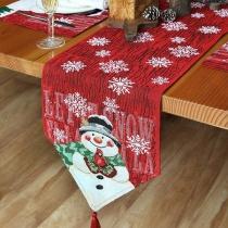 Leuk Tafelkleed met een Decoratief Sneeuwvlok- en Sneeuwpoppatroon