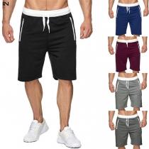 Modieuze Knielange Shorts voor Heren in Contrasterende Kleuren met Trekkoord