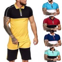 Modieus Sportpak voor Heren in Contrasterende Kleuren bestaande uit een T-shirt met Korte Mouwen en Polokraag + Short