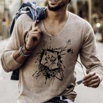 Modieus Sweatshirt voor Heren met Lange Mouwen Stijlvol Motief en V-hals