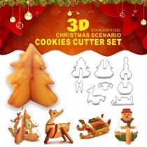 Creatieve Koekjes Uitstekers van Roestvrij Staal in Kerstscenario Vormen Set 8 Stuks / Set