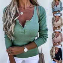 Modieus Sweatshirt in Effen Kleur met Lange Mouwen en V-hals met Knopen