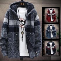 Modern Vest voor Heren in Contrasterende Kleuren met Lange Mouwen Capuchon en Pluche Voering