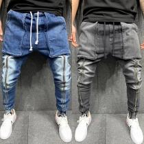 Casual Jeans voor Heren met Medium Taille met Trekkoord en Grote Zakken