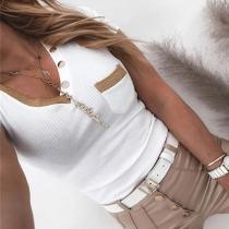 Fashion Contrast Color Button V-neck Short Sleeve Chest Pocket T-shirt