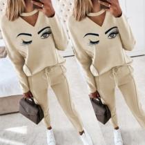Cute Eyes Pattern Long Sleeve V-neck Sweatshirt + Pants Two-piece Set