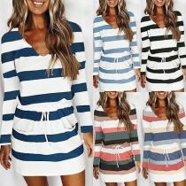 Fashion Long Sleeve V-neck Drawstring Waist Striped Dress