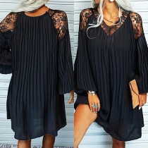 Sexy See-through Lace Spliced Lantern Sleeve V-neck Loose Pleated Dress