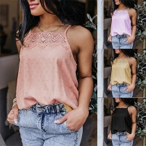 Sexy Lace Spliced Solid Color Loose Sling Top