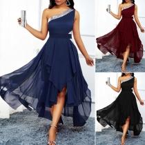 Sexy One-shoulder Sleeveless Irregular Hem High Waist Party Dress