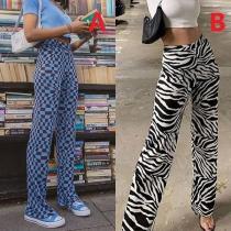 Fashion High Waist Colorful Printed Flared Pants