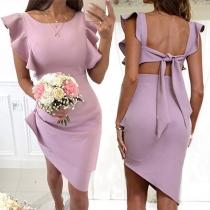 Elegant Solid Color Ruffle Cuff Irregular Hem Solid Color Slim Fit Dress