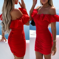 Sexy Ruffle Boat Neck Solid Color Slim Fit Dress