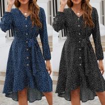 Fresh Style Long Sleeve V-neck Single-breasted Ruffle Hem Printed Dress