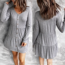 Fashion Solid Color Long Sleeve Round Neck Front-button Dress