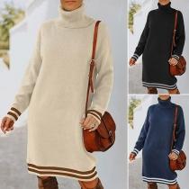 Fashion Contrast Color Long Sleeve Turtleneck Knit Dress
