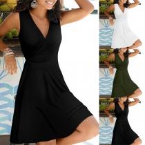 Elegant Solid Color Sleeveless V-neck High Waist Dress