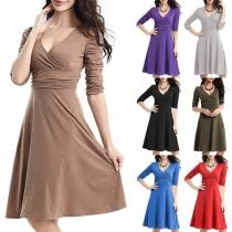 Elegant Solid Color 3/4 Sleeve V-neck High Waist Solid Color A-line Dress
