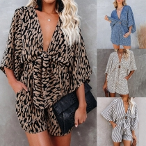 Sexy Lace-up V-neck Trumpet Sleeve High Waist Printed Romper