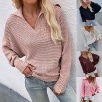 Fashion Solid Color Dolman Sleeve V-neck Loose Knit Sweater