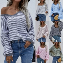 Fashion Lantern Sleeve V-neck Loose Stripe Sweater