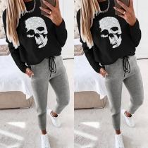 Casual Style Skull Head Pattern Sweatshirt + Pants Two-piece Set