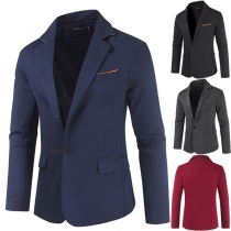 Fashion Solid Color Long Sleeve One-button Slim Fit Man's Suit Coat