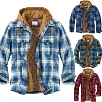 Casual Style Long Sleeve Hooded Plaid Coat for Man