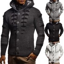 Modieus Vest voor Heren met één Rij Knopen Capuchon en Lange Mouwen