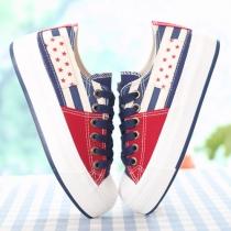 Contrast Color Star Stripe Casual Low Top Platform Sneaker
