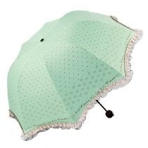 Candy Color Sweet Girl Lacy Dotted Folding Umbrella