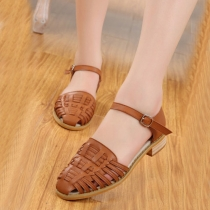 British Style Thick Heel Round Toe Hollow Out Sandals