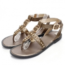 Retro Rivets Flat Heel Thong Sandals