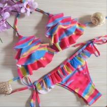 Sexy Meerlaagse Flitsende halster Bikini Set