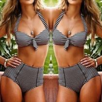 Sexy Hoge Taille met Beugel Gestreept Bikini Set