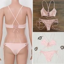 Sexy Effen Kleur Kant-afgezet Roze Bikini Set